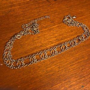Vintage Silver toned XO skinny chain belt